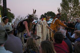 Members of the Virginia Intertribal Dance Group and Drum blessing the ground.
